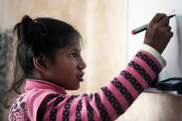 Ukraine Girl Writing on Board--Steve Evans picture
