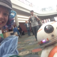 Husband catching up with BB-8 and Wife at FanX