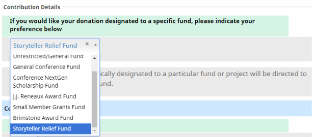 Contribution to Storyteller Relief Fund